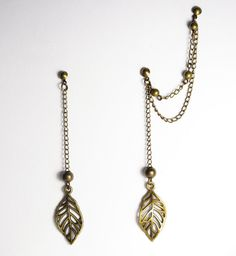 Bronze Leaves Double Piercing/Cartilage Earrings Set by JJnKo