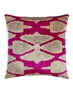 Shop Pink Print Silk Velvet Pillow, at Horchow, where you'll find new lower shipping on hundreds of home furnishings and gifts. Pink Throw Pillows, Velvet Pillows, Toss Pillows, Accent Pillows, Pink Home Accessories, Pink Home Decor, Weaving Techniques, Green Silk, Handmade Home Decor