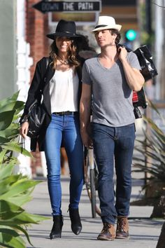 Ian Somerhalder and Nikki Reed kiss each other while doing some shopping at Stronghold Store on Monday (April 6) in Venice, Calif.