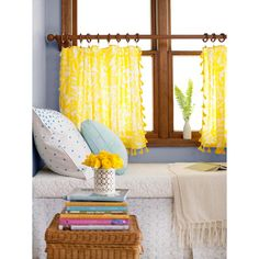 No-Sew Home Decor DIY Projects - The Cottage Market---kitchen and bathroom curtains? i like the pom pom trim