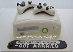 Gateau de mariage original en forme de Xbox   Retrouvez tous nos produits et services sur le site www.gateaucreation.fr  Gâteau création 9, place des Fauvelles 92400 Courbevoie Tel : 01.43.34.15.40