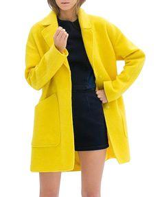 Lemon Yellow Medium Style Wind Coat