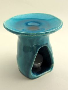 "Ceramic oil burner - ""Lagoon"" series, 2015, white clay, turquoise glaze - Ceramics by Atelier Saskia Lauth / France - www.saskia-lauth.com"