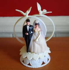 Vintage 1960s Bride and Groom Wedding Cake Topper Decoration by retrowarehouse on Etsy