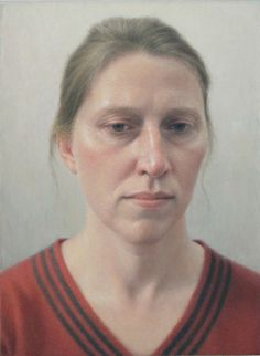 Erica in a Red Sweater, 2012, oil on canvas mounted on wood, 8 3/4 x 6 1/2 inches Robert Bauer