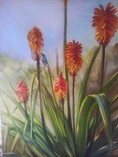 Melissa Von Brughan - Red hot fire pokers with sunbird. Oil on canvas 92cm x 122cm.