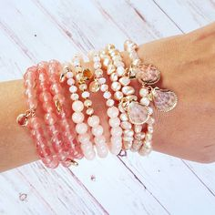 Pearl Bracelets, Bangles, Summer Days, Gemstone Jewelry, Jade, Shells, Cherry, Quartz, Gemstones