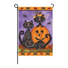 Super cute Hallowen garden flag.  Love the quirky black cats.