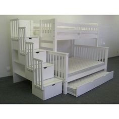 Bedz King Stairway Bunk Beds Twin over Full with 4 Drawers in the Steps and 2 Under Bed Drawers, White Under Bed Drawers, Bunk Beds With Drawers, Bunk Beds With Storage, Bunk Bed With Trundle, Full Bunk Beds, Bunk Beds With Stairs, Kids Bunk Beds, Bed Storage, Bed Stairs