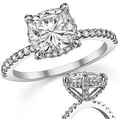 Cushion Asha & Diamond Petite Pave Style Engagement Ring