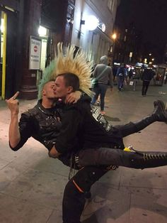 cute punk bear/leather/gay couple, fuck the haters be express yourself and your love