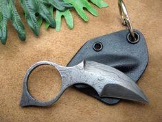 """Damascus Spur"" Keychain/Neck Knife //"