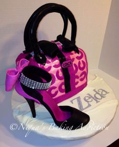 stilleto cakes | Coach Purse cake and fondant stiletto
