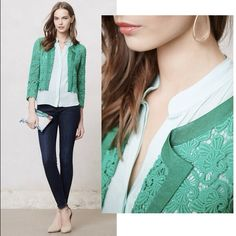 "Anthropologie LACEBLOOM JACKET – Small - NWT Anthropologie LACEBLOOM JACKET – OVERVIEW: We love how lace injects femininity into tailored and structured pieces. Elevenses' cropped jacket boasts a decidedly girl-meets-boy look with its moto-chic silhouette and flowery lace. DETAILS: Retail $158. Color: Green. Size: Small. By Elevenses. Open front. Cotton. Dry clean. Regular: 18""L. Imported. Style No. 26814012. NEW WITH TAGS – SOLD OUT. Anthropologie Jackets & Coats"