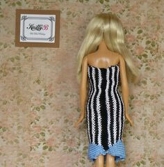 Strapless dress 12 inch Striped knit dress and black by KnittyforB