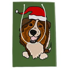 Funny Sheltie in Santa Hat Christmas Gift Bag #Shelties #Christmas #giftbags #ShetlandSheepdog #dogs #pets  #fun And www.zazzle.com/petspower*
