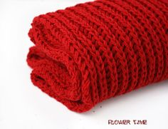 Red knit infinity scarf snood cowl от FlowerWatch на Etsy