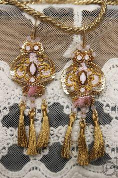 Купить Серьги с антикварными кистями. - золотой, розовый, серьги с кистями, длинные серьги, необычные серьги