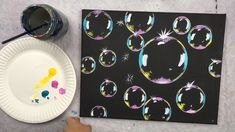 Super easy and fun! Learn how to paint these bubbles with acrylics on black canvas! This full step by step painting tutorial is great for beginners and kids! art painting How To Paint Bubbles - Step By Step Painting Cute Canvas Paintings, Canvas Painting Tutorials, Small Canvas Art, Easy Canvas Painting, Mini Canvas Art, Simple Acrylic Paintings, Acrylic Art, Diy Painting, Creative Painting Ideas