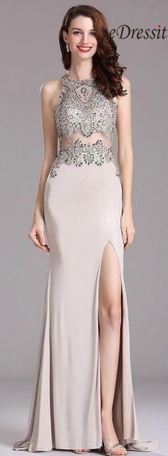 eDressit Carlyna Silver  Beaded Prom Dress with Slit Skirt
