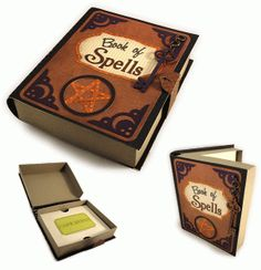 Silhouette Design Store - View Design #68133: book of spells 3d gift card box