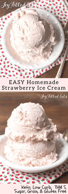 Strawberry Ricotta Ice Cream - Low Carb, Grain Gluten Sugar Free, THM S, Fast, Easy, 6 ingredients, Keto - My Homemade Strawberry Ice Cream Recipe with Ricotta is fresh and creamy. It tastes like the ice cream you get in a tiny cup with a tiny spoon from an expensive ice cream shop. But it is incredibly simple to make at home.