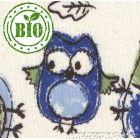 Oboulíc BIO bavlna natur + potisk SOVY modro/zelené
