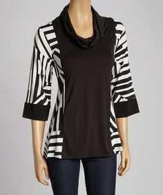 Love this Black & White Sidetail Cowl Neck Tunic - Women & Plus by Come N See on #zulily! #zulilyfinds  $26.99 from 64.00