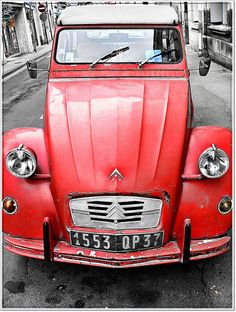 "#cars #citroen #missmine the ""deux chevaus"" from Citroën - the essence of all cars built since WWII. Perfect suspension, lightweight frame, great seats, efficient engine, foldable top and an unique design. Features you wouldn't get in today's car for less than € 30,000. The 2CV did cost € 6.500 in it's last year."