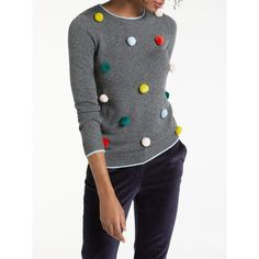 Boden Pom Pom Christmas Jumper (€84) ❤ liked on Polyvore featuring tops, sweaters, sleeve top, xmas sweaters, xmas jumpers, christmas sweaters and pom pom christmas sweater