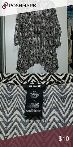 Asymmetrical top 3/4 sleeve top, worn once Premise Tops Blouses