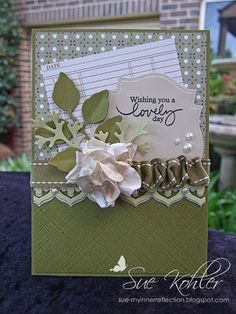 Love the combination of flat ribbon and ruffled ribbon. Beautiful pearls!