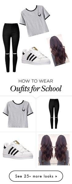 """2 cool 4 school"" by razkia on Polyvore featuring Chicnova Fashion and adidas"