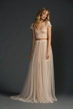 Two-piece gown made out of nude Chantilly lace