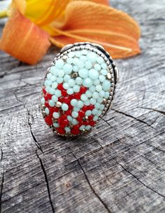 Silver Ring,Swarovski Crystal Ring,Underwater Jewelry Ring,Nautical Fashion, Coral Ring. - $69.00 - Handmade Jewelry, Crafts and Unique Gifts by Augie by Carrie Jewelry
