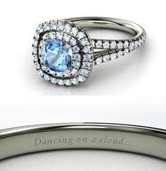 Cinderella Inspired Disney Wedding Ring. Two halos of aquamarine surround a cushion-cut, prong-set center blue topaz and continue in tandem down both sides of the white gold band in white sapphire. $1,962
