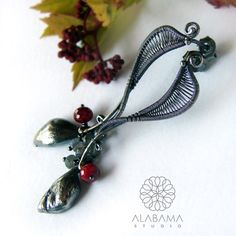 ALABAMA - Little love - srebrne kolczyki wire-wrapping