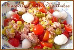 Lekker gemakkelijk en lekker fris een frisse salade van ingredinten die je altijd wel in huis hebt.Dit heb je nodigKerstomaatjesblikje tonijn naturelmini-mozzarellatjes of moz