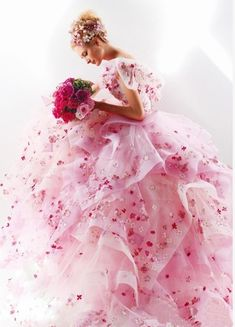 Floral pink bridal ball gown