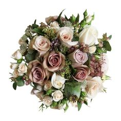 A vintage inspired hand tied bouquet of Roses, Pennygum, Mickey Daisy, Kol Kol and grass.