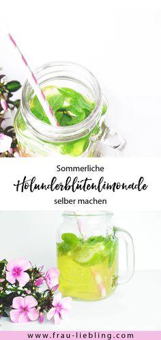 Recipe: Make a summery and refreshing elderflower lemonade yourself - Selbstgemachtes - Gesundheit Cocktail Drinks, Cocktail Recipes, Cocktails, Vegan Smoothies, Elderflower, Edible Flowers, Iced Tea, Diy Food, Yummy Drinks