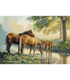 Horses by a Stream - Cross Stitch Kit
