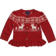<div>Ralph Lauren baby girls bright red knitted cardigan made from a soft wool and cashmere mix with an adorable alpine design. With a pretty frill hem and gold logo buttons to fasten, it has beautifully patterned back and makes a perfect addition to any outfit.</div> <ul> <li>34% viscose, 18% wool, 14% cotton, 4% cashmere, 30% other fibres</li> <li>Softly knitted<br /></li> <li>Hand wash<br /></li> </ul>