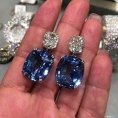 @thediamondsgirl. IN LOVE WITH THE COLOR OF YOU!!! By @georgehakimjewellers , these cushion cut blue sapphire earrings hold a special place in my heart!