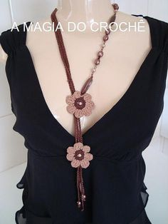 Apparel And Weave: Scarf Knitting Samples 4 Crochet Art, Crochet Gifts, Crochet Motif, Crochet Flowers, Knitted Necklace, Scarf Necklace, Flower Necklace, Crochet Bracelet, Handmade Jewelry