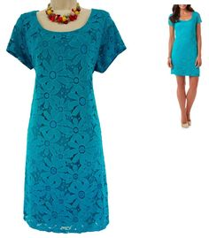 XL X-LARGE NWT SEXY Womens TURQUOISE FLORAL LACE SHEATH Dress Summer Wedding NEW #TianaB #Sheath #SpecialOccasion