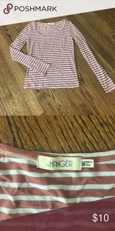 the Hanger Top the Hanger pink and white striped top. Incredibly soft material. the Hanger Tops Tees - Long Sleeve