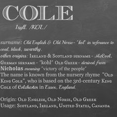 Cole- name meaning