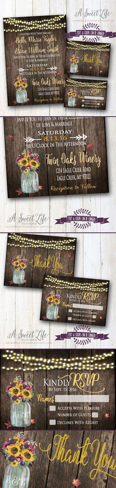 - NEW RELEASE for Fall 2016 - EXCLUSIVE DESIGN - A fall wedding invitation suite with gorgeous hues of eggplant purples and golden sunflower yellows. This fall design, with mason jar flower arrangement & string lights boasts rich autumn colors and falling leaves accentuate the overall design. A beautiful design, adorned with golden sunflowers, dark eggplant purple hues, ambient string lights and a mason jar with a rustic barn wood background.