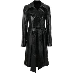 Helmut Lang Patent Leather Trench (38.707.470 IDR) ❤ liked on Polyvore featuring outerwear, coats, black, trench coat, patent coat, helmut lang, patent leather coat and patent leather trench coat